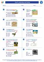 Science - Second Grade - Worksheet: Earth yesterday and today