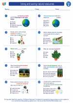 Science - Second Grade - Worksheet: Using and saving natural resources