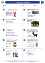 Science - Fourth Grade - Worksheet: Introduction to animals