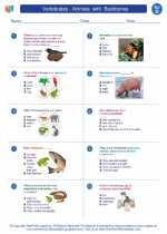 Science - Fourth Grade - Worksheet: Vertebrates - Animals  with  Backbones