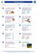 Science - Fourth Grade - Worksheet: Classifying organisms