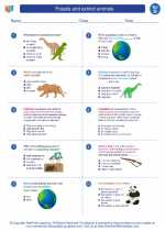 Science - Fourth Grade - Worksheet: Fossils and extinct animals