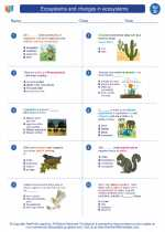 Science - Fourth Grade - Worksheet: Ecosystems and changes in ecosystems