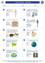 Science - Fourth Grade - Worksheet: Did you Know... 4th grade