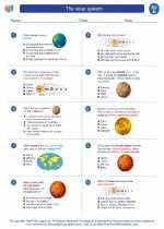 Science - Fifth Grade - Worksheet: The solar system