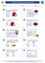 Science - Fifth Grade - Worksheet: Elements, mixtures and compounds