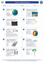 Science - Sixth Grade - Worksheet: Earth's energy resources