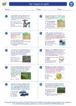 Science - Sixth Grade - Worksheet: Our impact on earth