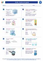 Science - Sixth Grade - Worksheet: Solids, liquids and gases