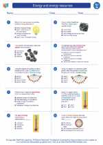 Science - Seventh Grade - Worksheet: Energy and energy resources