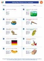 English Language Arts - Eighth Grade - Worksheet: Adding New Words to Our Language