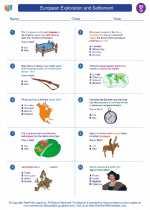 Social Studies - Seventh Grade - Worksheet: European Exploration and Settlement