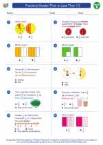 Mathematics - Second Grade - Worksheet: Fractions Greater Than or Less Than 1/2