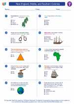 Social Studies - Fifth Grade - Worksheet: New England, Middle, and Southern Colonies