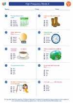 English Language Arts - Third Grade - Worksheet: High Frequency Words II