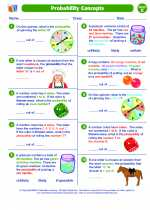 Mathematics - Fifth Grade - Worksheet: Probability Concepts