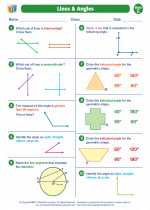Mathematics - Fifth Grade - Worksheet: Lines and Angles