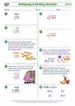 Mathematics - Fifth Grade - Worksheet: Multipying & Dividing Decimals