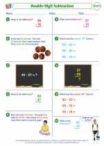 Mathematics - Third Grade - Worksheet: Double-Digit Subtraction