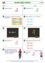 Mathematics - Third Grade - Worksheet: Double-Digit Addition