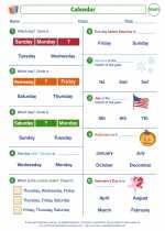 Mathematics - First Grade - Worksheet: Calendar