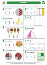 Mathematics - First Grade - Worksheet: Fractions