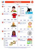 English Language Arts - First Grade - Worksheet: Long Vowel - Silent e