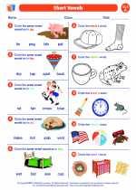 English Language Arts - First Grade - Worksheet: Short Vowel Discrimination