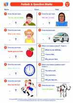 English Language Arts - First Grade - Worksheet: Periods and Question Marks
