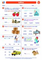 English Language Arts - Second Grade - Worksheet: Suffixes
