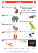 English Language Arts - Second Grade - Worksheet: Syllables
