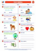 English Language Arts - Third Grade - Worksheet: Fact/Fiction/Opinion