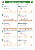 Mathematics - Fifth Grade - Worksheet: Positive & Negative Integers
