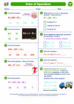 Mathematics - Sixth Grade - Worksheet: Order of Operations