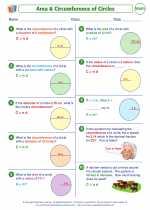 Mathematics - Sixth Grade - Worksheet: Area and Circumference of Circles