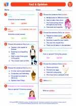 English Language Arts - Fifth Grade - Worksheet: Fact & Opinion