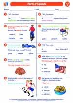 English Language Arts - Fifth Grade - Worksheet: Parts of Speech