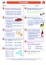 English Language Arts - Fifth Grade - Worksheet: Punctuation