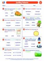 English Language Arts - Sixth Grade - Worksheet: Spelling Patterns