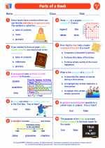English Language Arts - Sixth Grade - Worksheet: Parts of a Book