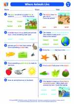 Science - First Grade - Worksheet: Where Animals Live