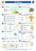 Science - First Grade - Worksheet: The seasons