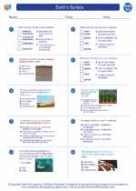 Earth Science - High School - Worksheet: Earth`s Surface