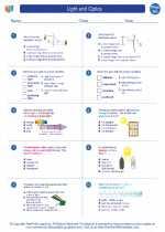 Physics - High School - Worksheet: Light and Optics