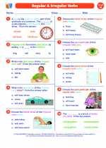English Language Arts - Eighth Grade - Worksheet: Regular and Irregular Verbs