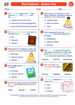 English Language Arts - Eighth Grade - Worksheet: Text Features