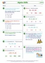Mathematics - Seventh Grade - Worksheet: Algebra Skills