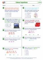 Mathematics - Eighth Grade - Worksheet: Solving linear equations