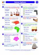 Social Studies - Third Grade - Worksheet: Famous Explorers