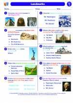 Social Studies - Third Grade - Worksheet: Landmarks